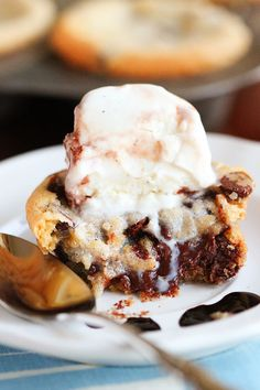 Love these gooey chocolate chip lava cookies! Make in a muffin tin and they are the perfect shape to top with a scoop of ice cream.