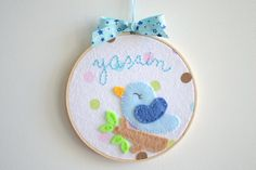 Personalized Embroidered Hoop Art Bird and Name Wall by TheMemis, $35.00