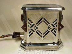 "Art Deco toaster: ""Art Deco Fostoria toaster by Bersted. You put in your bread, guess at the time, then open the door and turn the toast around. I guess this is why people used to scrape their toast."""