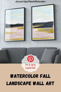 This abstract watercolor print set featuring fall landscape painting will become a great addition to your living room, dining room or even office. Thanks to its calming colors this set is highly recommended as bedroom wall decor over the bed or Airbnb decor room ideas and inspirations. Download now! #printablewallart #watercolorwallart #airbnbdecorroomideas #falldecorideas #abstractwallart