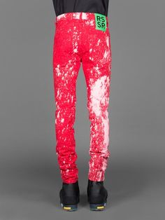 RAF SIMONS X STERLING RUBY FIVE POCKET BLEACHED SLIM FIT JEANS