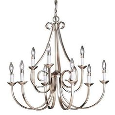 "Kichler Dover 9 Light 33"" Wide Candle-Style 2-Tier Chandelier - Brushed Nickel Primary Image"