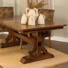Barstow Trestle Extension Table – Amish Tables  Choose your size, wood & stain!