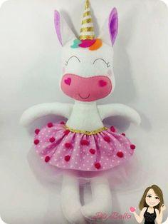 Moldes gratis para hacer peluches de unicornio con fieltro.