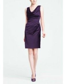 Lapis Sleeveless Stretch Satin Cowl Neck Dress Style (G191)
