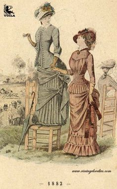 Women on chairs 1882 Europe Fashion, Women's Fashion, Free Download, Natural Forms, Fashion Plates, Feminine Style, Nice View, Colour Images, Victorian Fashion