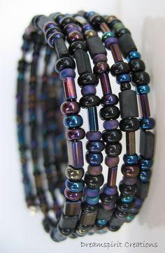 Memory Wire Bracelet of Varied Czech Glass by DreamspiritCreations, $16.00