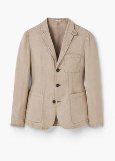 Unstructured linen blazer - Blazers for Men   MANGO Man USA