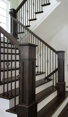 Iron Balusters Stair Solution Residential and Commercial Designs Stair Railing Ideas balusters Commercial Designs iron Residential Solution stair Staircase Railing Design, Interior Stair Railing, Wrought Iron Stair Railing, Staircase Handrail, Iron Balusters, Staircase Remodel, Stair Decor, Staircase Ideas, Banisters
