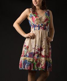 Take a look at this Natural Floral Lace Dress by Vasna on #zulily today!  Ok, so I love this dress, whatever color!