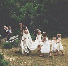 Boho Bride with a long train Wedding Bells, Boho Wedding, Dream Wedding, Wedding Day, Boho Bride, Woodland Wedding Dress, Wedding Ceremony, Forest Wedding, Wedding Tips
