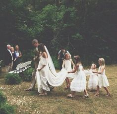 boho bride + boho flower girls