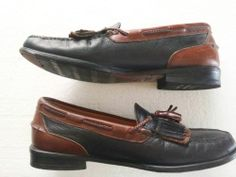 FRENCH SHRINER Black/Brown LEATHER Richmond Loafers Size 9.5 M = FREE Ship