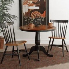 36 inch Round Pedestal Dining Table with 2 Copenhagen Chairs, Black