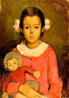 Girl with Doll  -  Baba CorneliuRomanian 1906-1998