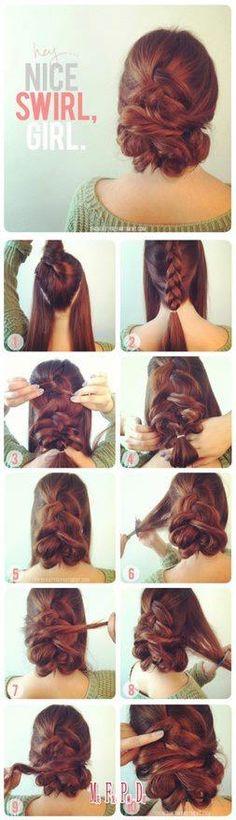 ♥ Nice way to tie ones' hair!