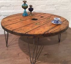 Industrial Rustic Shabby Chic Upcycled Cable reel Drum Coffee Table Hairpin Legs in Home, Furniture & DIY, Furniture, Tables | eBay!