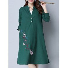 Gracila Casual Loose Solid Color Long Sleeve Stand Collar Women Dresses is comfortable, see other cheap casual dress on NewChic Mobile