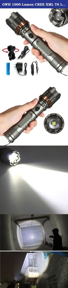 GWH 1000 Lumen CREE XML T6 LED Flashlight Zoomable Tactical Torch Light 5 Mode Camping Lamp with Battery Charger Bike Holder. Specification: Model of LED:CREE XM-L T6 Switch Mode: high / middle / low / strobe / sos Zoom: yes Battery: 1*18650 battery or 3*AAA batteries Waterproof: can use in rainning (can't work under water) Purpose: camping,hiking,riding,hunting,fishing,etc. Notice: 1.Carefully check the negative and positive of the battery compartment when loading the batteries. 2.If the...