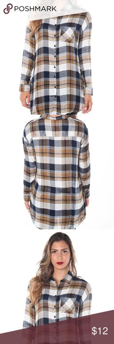Women's Plaid Checkered Flannel Button Down Shirt Women's Plaid Checker Flannel  Sizes Small, Medium, and Large Available Comment any questions  Colors: Blue, Mustard, and Red  Product description: Long sleeve  Button up Plaid checkered Classic flannel Collared neckline Elongated hem  Curved bottom Chest pocket Soft material Tops Button Down Shirts