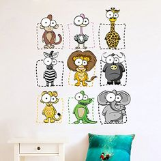 Wallpark Cartoon Cute Animal Monkey Giraffe Lion Removable Wall Sticker Decal, Children Kids Baby Home Room Nursery DIY Decorative Adhesive Art Wall Mural -- Check out the image by visiting the link. (This is an affiliate link) #Stickers