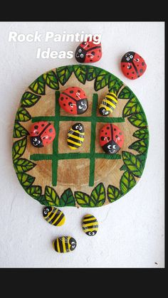 Rock Painting Patterns, Rock Painting Ideas Easy, Rock Painting Designs, Rock Painting For Kids, Ladybug Rock Painting, Diy Crafts For Kids, Fun Crafts, Art For Kids, Arts And Crafts