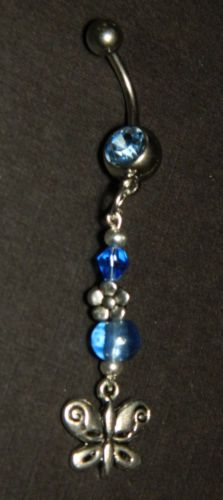 Blue Silver Butterfly Charmed Navel Belly Button Ring Body Jewelry Piercing | eBay