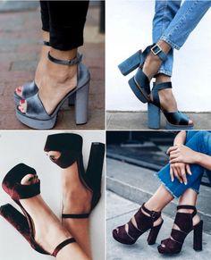 Sandálias pesadas de salto bloco de veludo. Como usar? Com jeans a combinação fica incrível, super descolado e atual