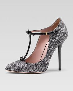 must have for fall!! Tweed T-Strap Pump, Graystone by Gucci at Neiman Marcus.