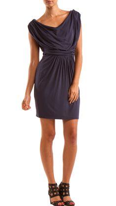 Cowl Neck Blue Dress.