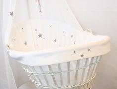 Wiegbekleding en Wieghemel Grijze Sterren * Cradle Lining and Canopy Grey Stars