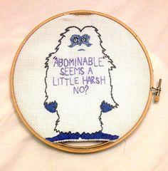 Satire Abominable Snowman Cross Stitch by ScissorcutDesigns