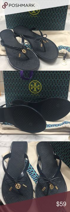 Tory Burch Jelly Bow Stylish Flip Flops Thongs Wonderful Jelly Bow Navy Blue flips flops embellished with gold. I will include the cloth and paper bags shown. These are used but in good condition. Tory Burch Shoes Sandals