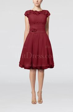 Dark Red Cinderella Scalloped Edge Short Sleeve Chiffon Knee Length Lace Bridesmaid Dresses - iFitDress.com