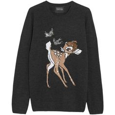 Markus Lupfer Bambi sequin-embellished merino wool sweater ($360) ❤ liked on Polyvore featuring tops, sweaters, sweatshirts, charcoal, merino top, merino sweater, embellished tops, loose fit tops and markus lupfer sweater
