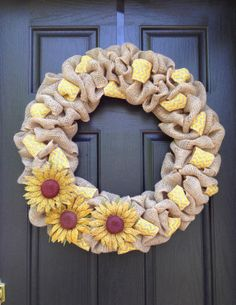burlap wreath, summer wreath, sunflower, yellow chevron, burlap flowers
