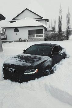 Black audi in winter