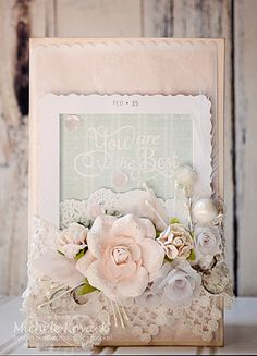 Vintage inspired card using vellum, lace, and many flowers!