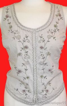 Size Large 12/14 WHITE STAG Embroidered Khaki Top BEADED Vest COTTON Sleeveless #WhiteStag #ButtonDownShirt #Casual