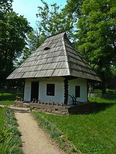 Traditional house from the north of Romania, with only one room and flowers around
