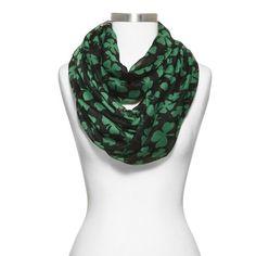 Women's Shamrock Print Infinity Scarf - Black/Green