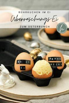 Liebt ihr Überraschungen genau so sehr wie ich? Dann überrascht doch eure Liebsten zum (Oster-)Brunch mit einem süßen Überraschungs-Ei: Denn es befindet sich statt einem hartgekochtem Ei ein fluffiger, super leckerer Kuchen im Ei! Eure Familie und Gäste werden Augen machen und Kinder werden es lieben! Diy Ostern, Recipes, Magic, Party, Kitchen, Blog, Cooking, Recipies, Kitchens