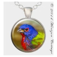 The perfect Christmas Gift for your favorite bird lover!!  Painted Bunting  Digital Painting Key Ring or by HorizonCottage