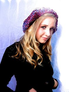 Purple and Blue Slouchy Hat.  via Etsy.
