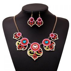 A Set of Retro Women's Colored Beads Necklace And Earrings #CLICK! #clothing, #shoes, #jewelry, #women, #men