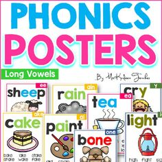 These long vowel phonics posters are great for implementing in your small group and whole group. Phonics is so important for our students. Its important to get organized on how you will teach phonetic skills. This set includes posters for short vowels and word families.