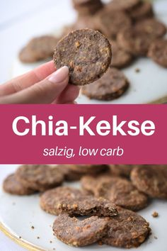 Have you tried chia cookies before? Here you will find a delicious chia recipe for chia cookies. These low carb cookies are salty, spicy and an ideal, healthy snack on the go. Low Carb Keto, Low Carb Recipes, Diet Recipes, Snack Recipes, Low Calorie Snacks, Keto Snacks, Healthy Snacks, Weight Loss Snacks, Calories