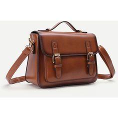 SheIn(sheinside) Faux Leather Satchel Bag With Adjustable Strap (36 CAD) ❤ liked on Polyvore featuring bags, handbags, shoulder bags, brown satchel handbag, brown satchel, satchel purses, satchel handbags and handbag satchel