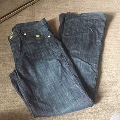 Denim Bell Bottom Jeans Flare bottom jeans with gold accents. Worn once. Rock & Republic Jeans