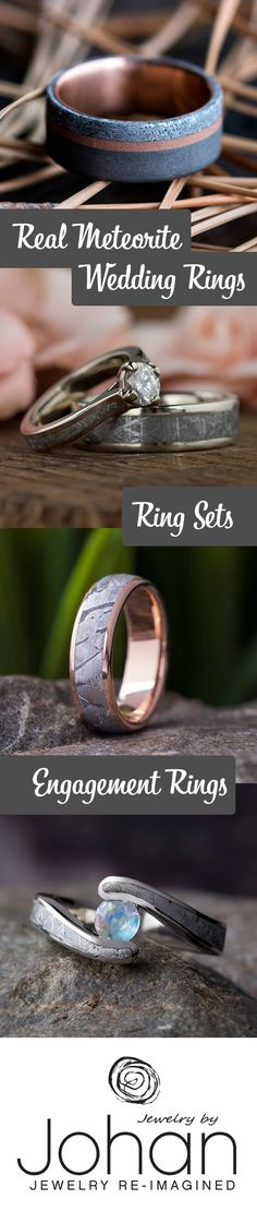 Meteorite men's wedding bands are always one-of-a-kind. Meteorite is stellar (pun intended) alone, but also makes for a beautiful inlay in gold, silver, and titanium rings.